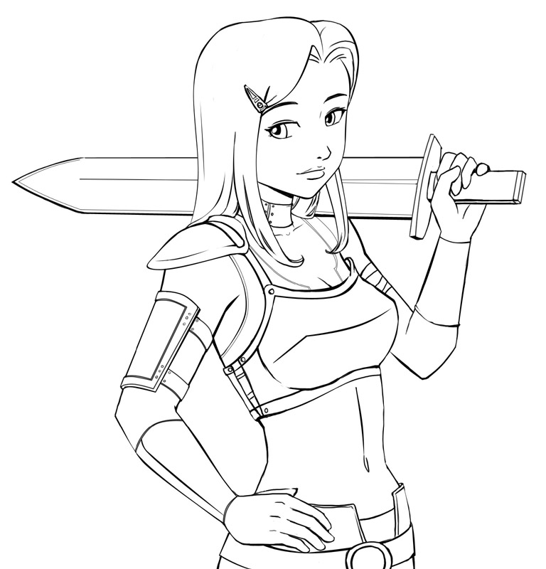 Go Back > Gallery For > Warrior Girl Anime Drawing