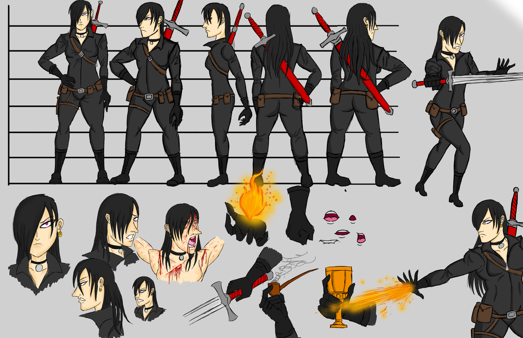 Anime Character 2d : Sasha character sheet for d animation by bigbadmonster on