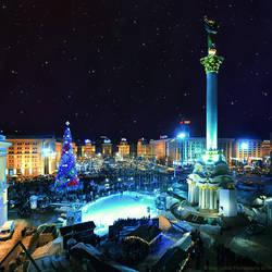 Nightly Kiev. Maidan by AlexGontar