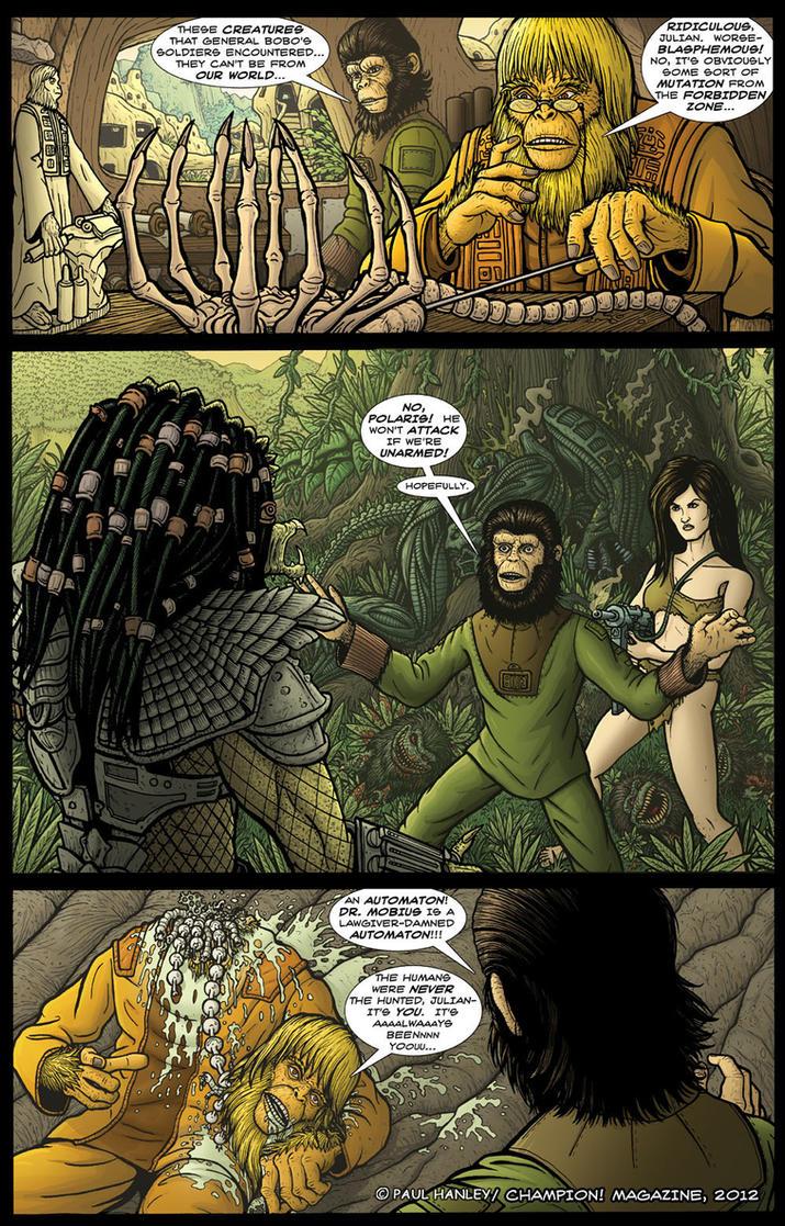 Alien Vs. Predator on the Planet of the Apes, pg 1 by PaulHanley