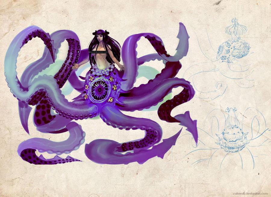 Mira concept art octopus demon by cakeroll