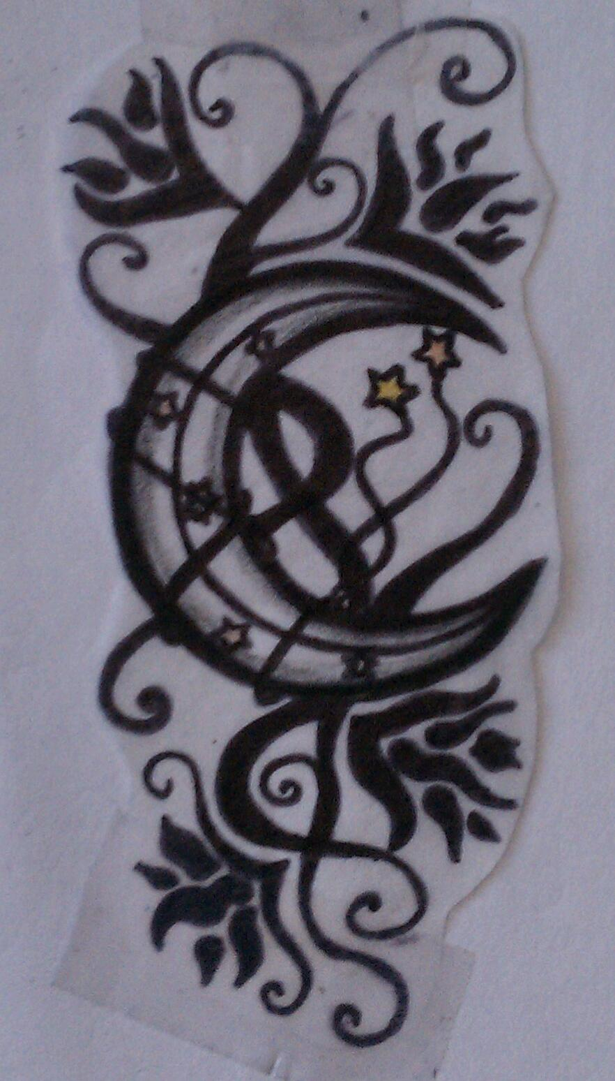 Moon and star tattoo by sweetmidnytekiss on deviantart for Moon and stars tattoo