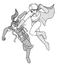 Power Girl vs Rogue by Mangakami