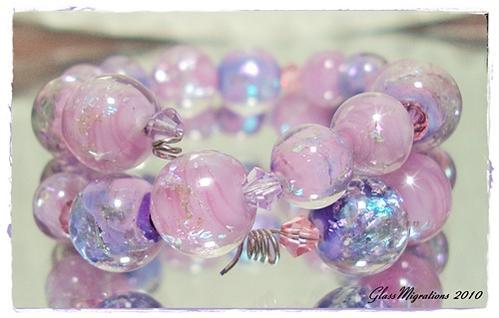 Purplink Lampwork Beads by glassmigrations