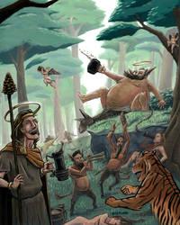 Dionysus, Silenus, and Bacchanal by NateFlamm