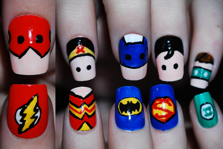 Justice League Nail Art by Maynesss on DeviantArt