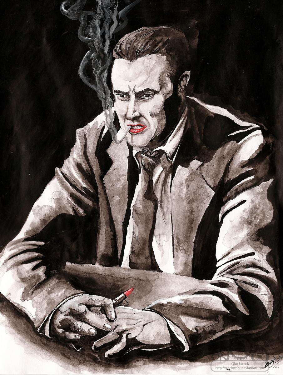 Man and lipstick and cigarette