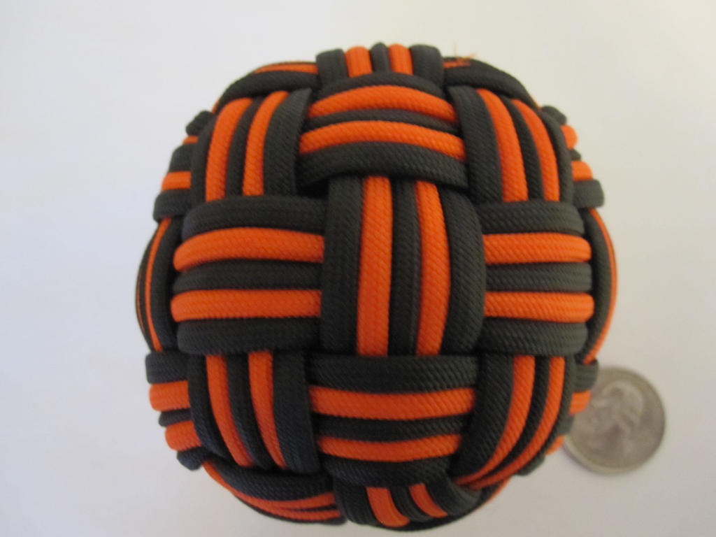 45 Face Globe knot, Large and Black/Orange by demuredemeanor