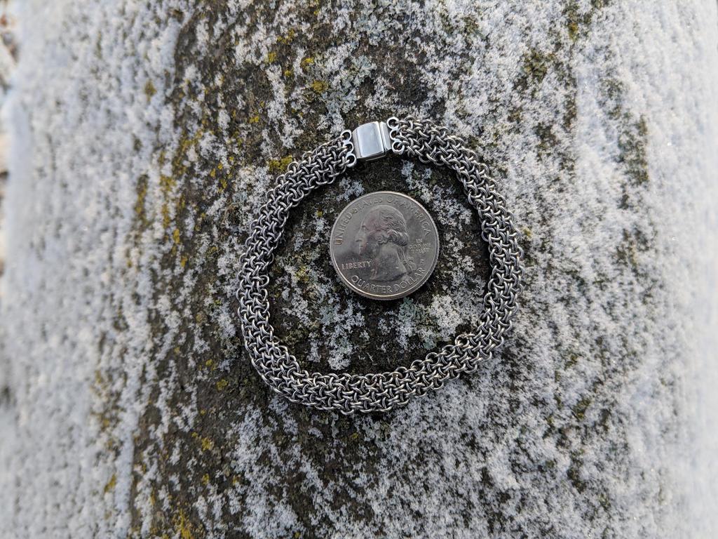 Hoodoo Hex Weave Bracelet - 22ga Stainless Steel by demuredemeanor