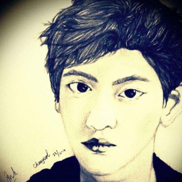 Park Chanyeol Sketch By Intan by intankomara