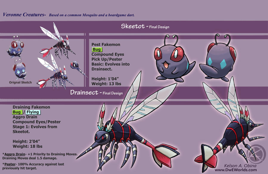 Skeetot and Drainsect design sheet by TheCreationist