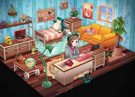 Animal Crossing Bedroom [Pokemon Theme] by mariigolds