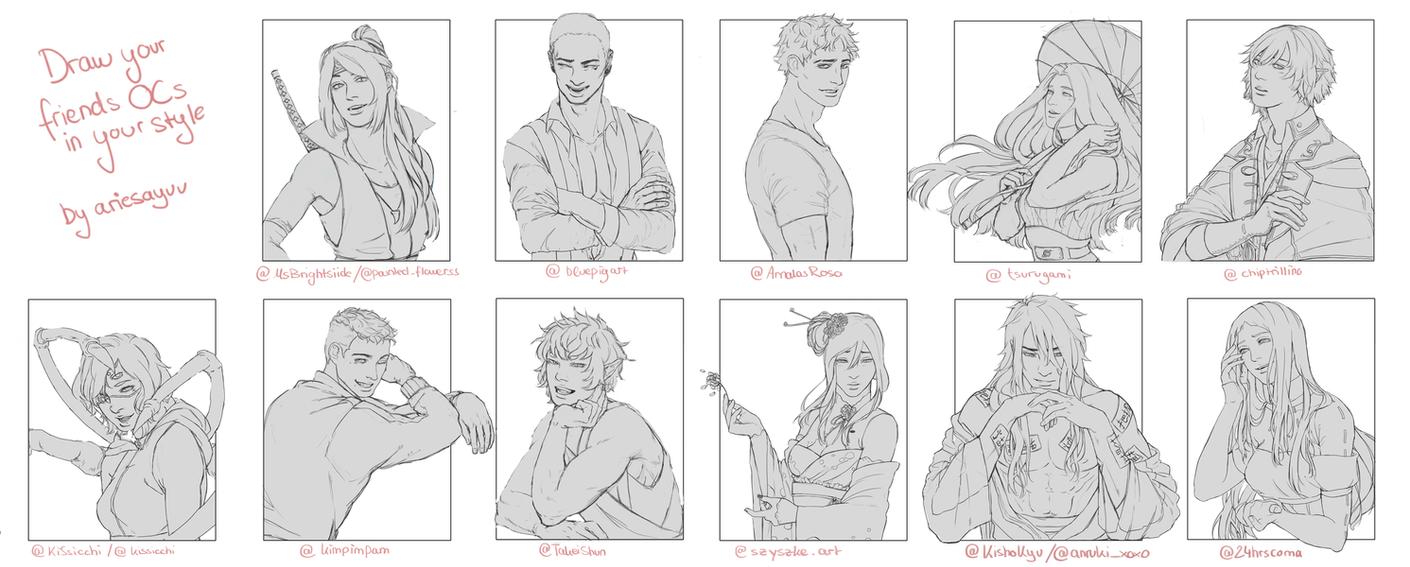 Drawing my friends' OCs! by Ariesayu