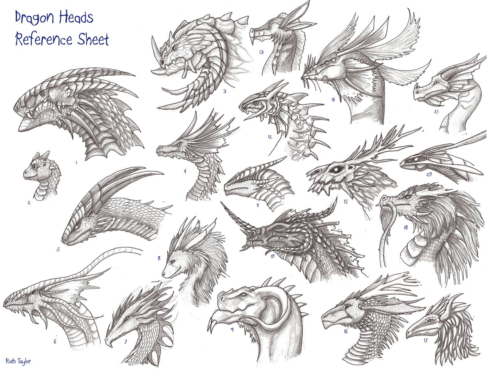 Драконы рисунки в профиль