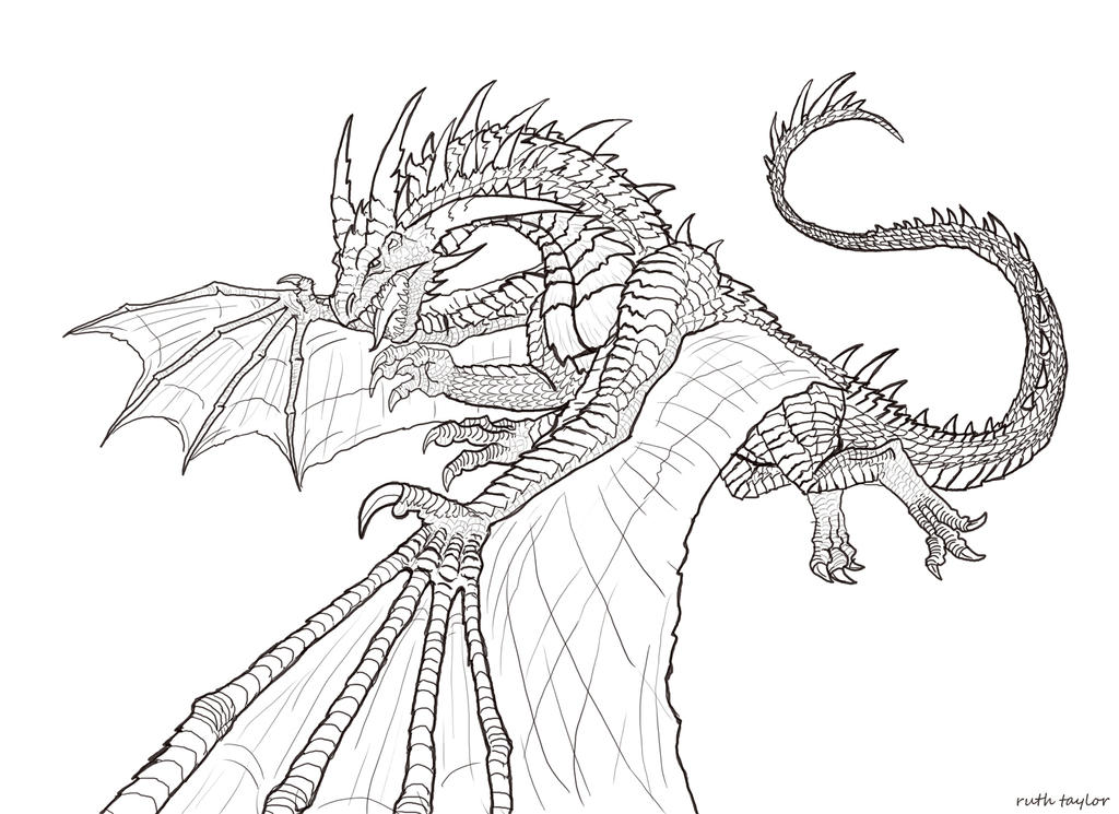 Dragon Lineart : Dragon lineart by ruth tay on deviantart