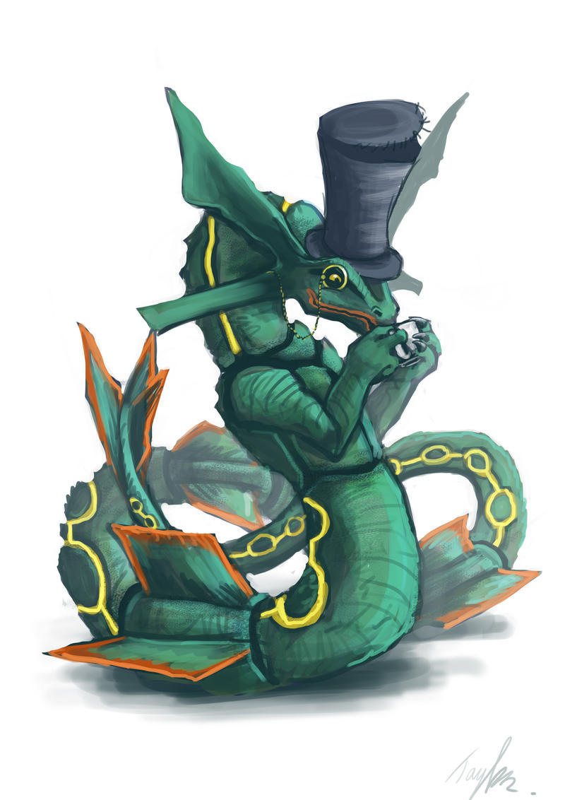 Rayquaza drinking tea by Ruth-Tay