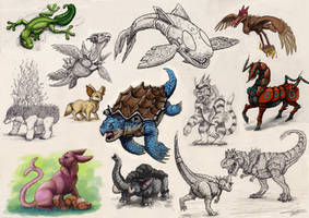 Realistic Pokemon Sketches #1 by Ruth-Tay