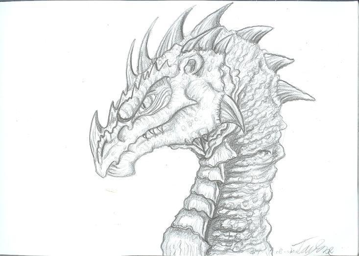 how to draw a hard dragon head