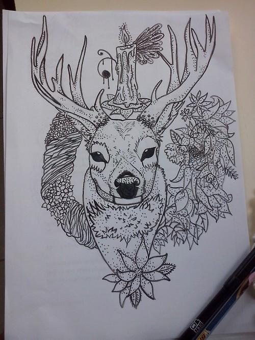 deer tattoo by vica2010 on deviantart. Black Bedroom Furniture Sets. Home Design Ideas