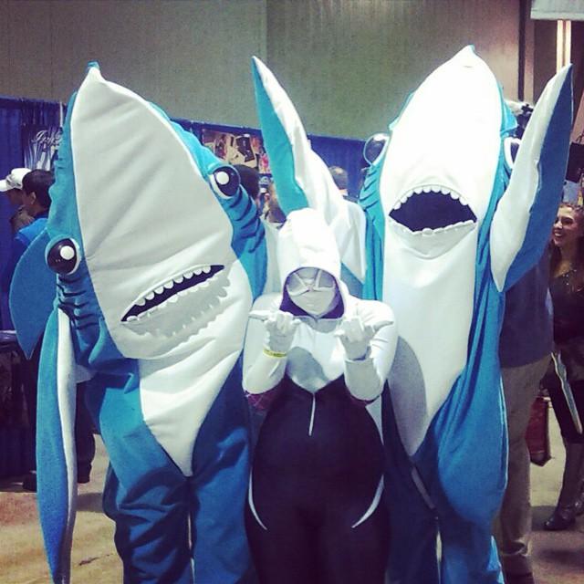 SpiderGwen, Left Shark, Right Shark at LBCE by Jacks-sis13