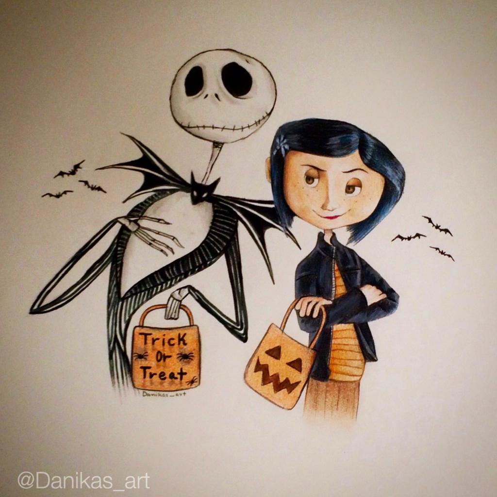 Jack Skellington And Coraline Halloween Drawing By Danikas Art26 On Deviantart