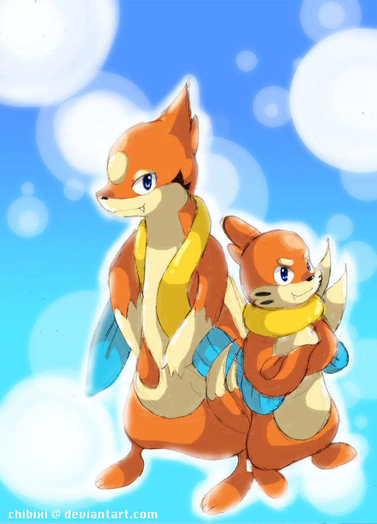 Floatzel and Buizel by Chibixi