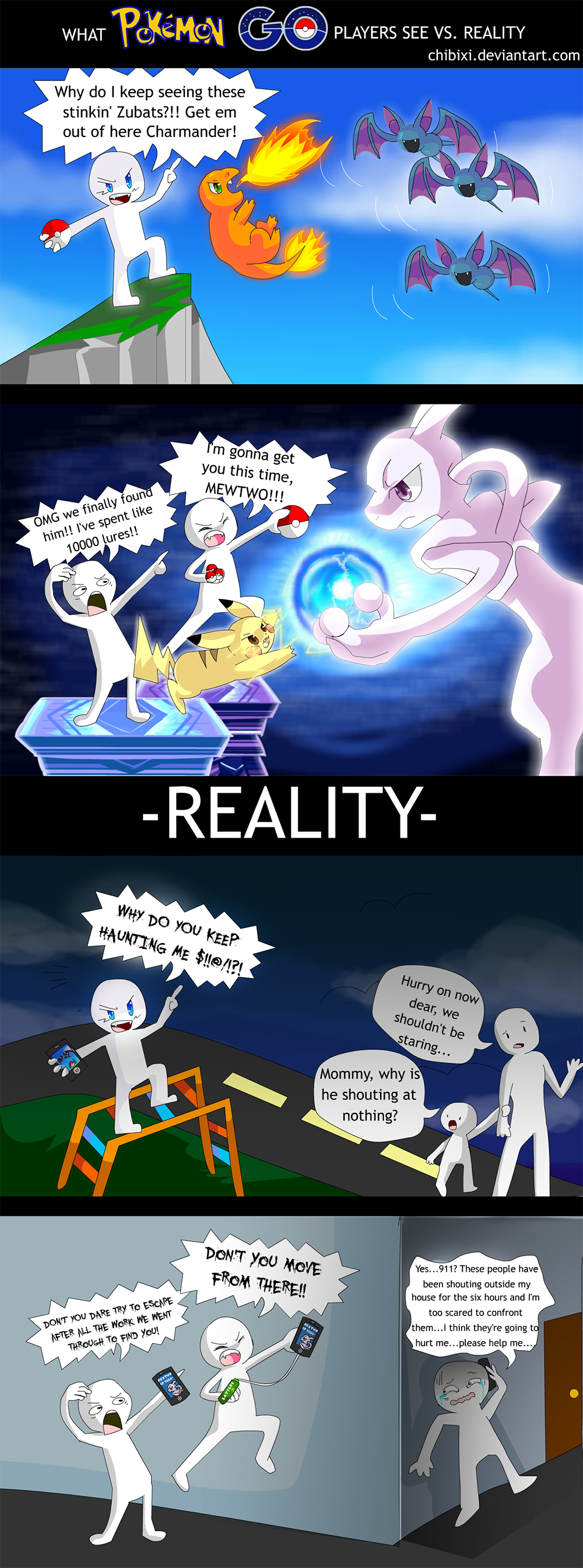 what pokemon go players see vs reality comic by chibixi. Black Bedroom Furniture Sets. Home Design Ideas