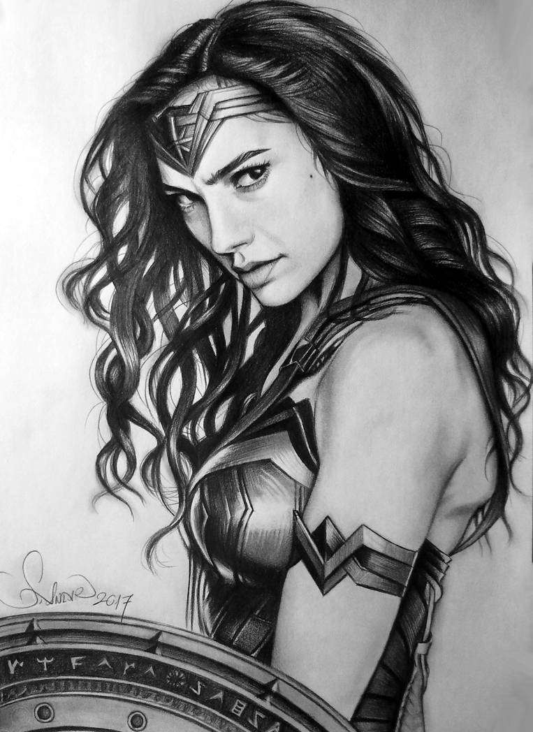 Pencil drawing wonder woman by serkanpainter