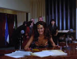 Wonder Woman Pushes Table