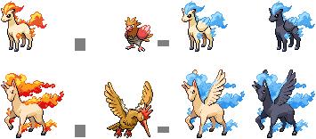 Ponyta and Rapidash Hybrid Sprites by mondecolore on ... Fearow Mega Evolution