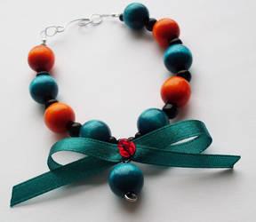 Sea blue + orange bracelet