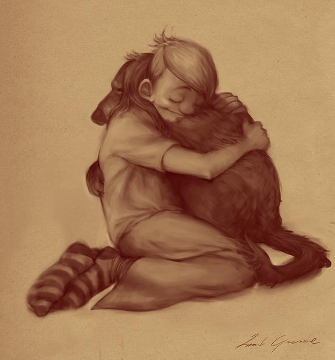 Boy loves dog by gressief