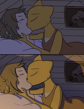 Katia and Richard kissing.