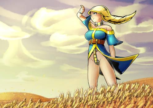 Takenta in a wheat field