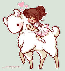 Albino Llama Love by MoogleGurl