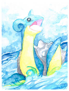 Lapras Watercolor Painting