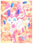 Sylveon Watercolor Pokemon Painting by MoogleGurl