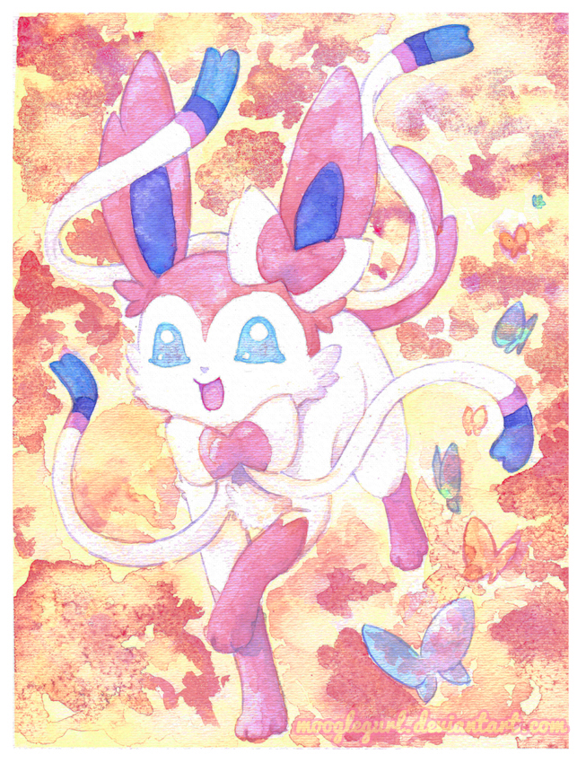 Sylveon Watercolor Pokemon Painting by MoogleGurl
