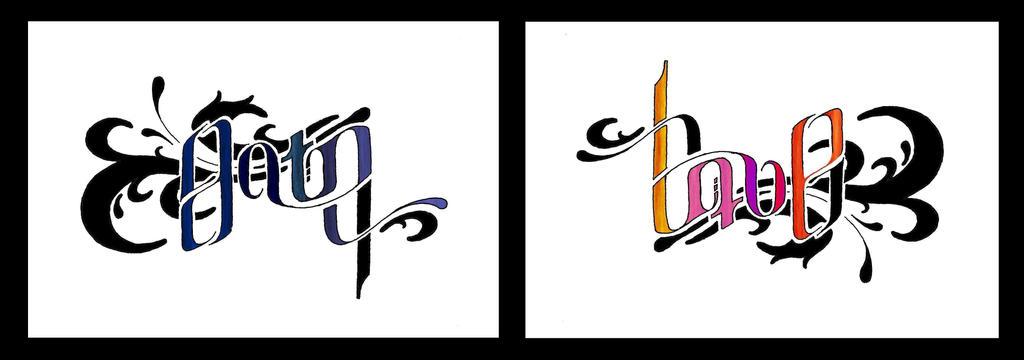 Nyoba tattoo design for Love n hate tattoo