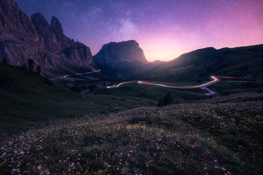 Dusk in the Dolomites