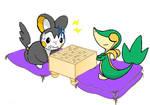 Emolga and Snivy playing Japanese chess
