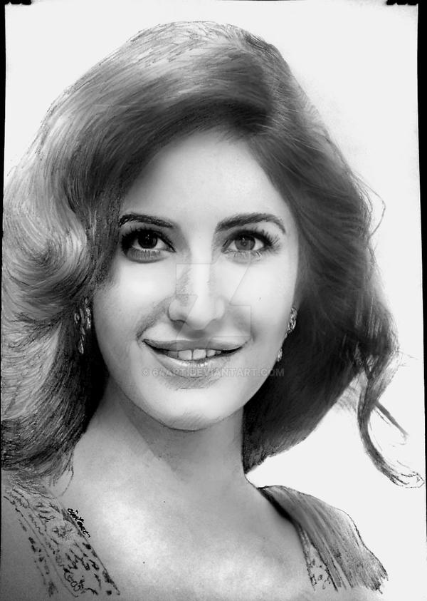 Katrina kaif graphite charcoal powder mixed by 64art