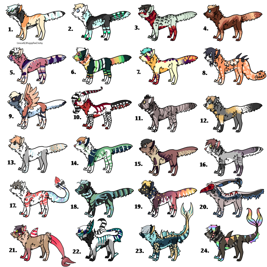 24 canine adoptables CLOSED by HazeAdopts