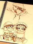 BoredClassroom sketch1:Trafalgar law+Luffy Chibi