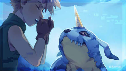 ZINE PREVIEW- Blues and Blues Digimon by bkomei