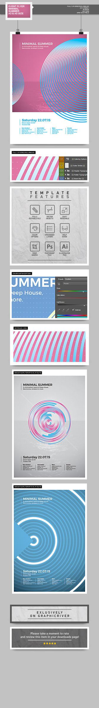 Flyer - Poster: Minimal Summer by blercstudio