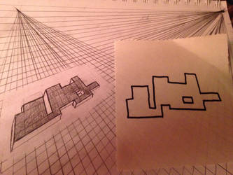 Two point perspective puzzle piece by kdid11