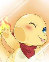 Charmander under glass by TheNekoStar