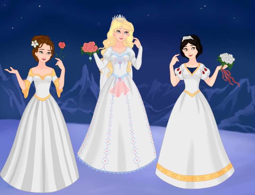 Wedding Dresses Belle Aurora And Snow White By Candy Cane Xo On