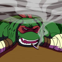 Stressed out Raph smoking.